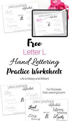 Letter L Hand Lettering Practice Sheets - Hand Lettering Worksheets #handlettering #iPadlettering Hand Lettering Practice, Hand Lettering Alphabet, Bullet Journal Printables, Bullet Journals, Bullet Journal Inspiration, Journal Ideas, Letter L, Journal Paper, Planner Ideas
