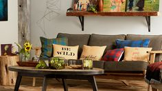 Let your Shutterfly pillows speak to each other. In this rustic design space, we've experienced with changing font and copy color in the collection. Click-through for more home decor inspiration on www.Shutterfly.com.