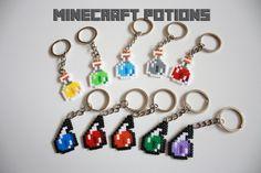 Minecraft keychains. Minecraft potions hama beads mini. minecraft perler. Pixel art