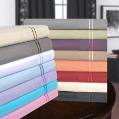 Superior Light Weight and Super Soft Brushed Microfiber, Wrinkle Resistant Sheet Set with 2-Line Embroidery, Purple