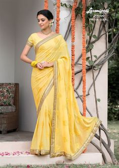 Buy this Appealing Yellow #Embroidered # Georgette #Party_Wear #Stonework #Saree with Georgette Yellow Blouse along with Rawsilk Lace Border Online by Laxmipatisarees. #Price - ₹ 3042.00 #Catalogue- #Zainab #Designnumber- Zainab 106 #Colorfulsarees #Cashondelivery #Orderonline #Freedelivery #Freeshipping #Freehomedelivery #Manufacturer #Retailer #Ecommerce #Onlineservices #Festival #Worldwidedelivery #Shopnow #Happyshopping #India #Zainab0317 Fancy Sarees, Party Wear Sarees, Lehenga Saree, Sari, Indian Outfits, Indian Clothes, Yellow Blouse, Lace Border, Saree Collection