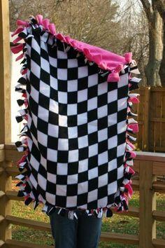 Baby Blanket Checkered Flag Fleece-Black White Checkerboard Child Size | @donnasdesignssc - Housewares on ArtFire Racing Baby, Fleece Tie Blankets, Small Blankets, Baby Blankets, Baby Tie, Frijoles, Checkered Flag, Dirt Track Racing, Baby Bedding Sets
