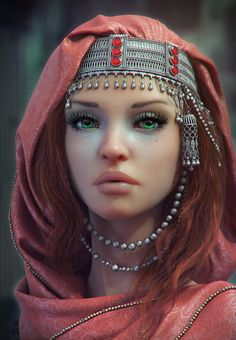 ArtStation - green-eyed foreign woman, Olya Anufrieva