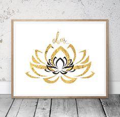 Yoga Art Printable Lotus Flower Printable Art Ohm by MSdesignart