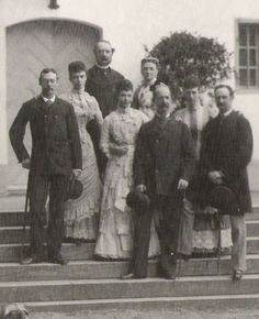 King Christian IX and Queen Louise of Denmark with all of their children. From left: Prince Waldemar of Denmark; Princess Thyra, Crown Princess of Hanover and Duchess of Cumberland; King Christian IX; Dagmar; Queen Louise; King George I of Greece; Alexandra; and Crown Prince Frederick, the future King Frederick VIII of Denmark.