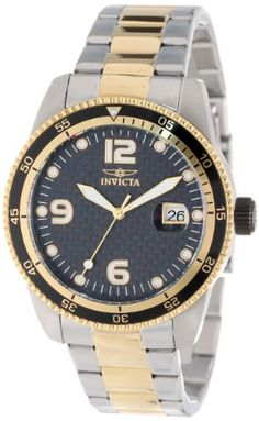 Invicta Mens 14113 Pro Diver Automatic Black Carbon Fiber Dial Two Tone Stainless Steel Watch ** Click on the image for additional details.