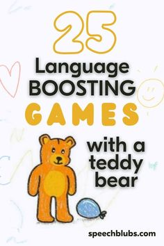 Kids' games for learning language can be made up using things that you already have at home.If you want to make a start without breaking the bank, apps such as Speech Blubs are a simple and cost-effective place to start. Keep reading to find out how to play with a teddy bear and expand vocabulary while playing! Learning Games, Kids Learning, Games For Kids, Activities For Kids, Speech Delay, Play N Go, Word Sentences, Speech Activities, Speech Room