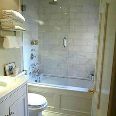 Tub front & surround for guest bathroom tub/shower combo. Bathroom Tub Shower, Bathroom Small, Bathroom Storage, Bath Tubs, Budget Bathroom, Vanity Bathroom, Bathtub Tile, Simple Bathroom, Bathroom Cabinets