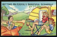 1940s Travel Trailer camper Comic Hot Chicks Guy in Speedster Linen Postcard | eBay