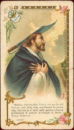 """Oh Laud, may I consult a medicus?"" Saint Peter of Verona (Saint Peter Martyr) - patron saint of: Guaynabo, Puerto Rico; Catholic Saints, Patron Saints, Roman Catholic, Religious Images, Religious Art, American Catholic, Cluster Headaches, Vintage Holy Cards, Religion Catolica"