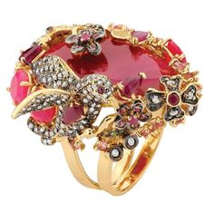 Diamond and rubellite ring by Goldesign