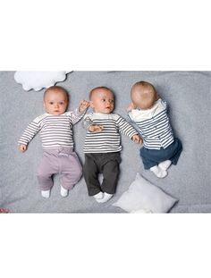 4-Piece Newborn Gift Set Charcoal stripe+Lilac stripe+Navy stripe (Verbaudet)