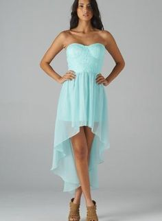 Mint+Strapless+Hi-Lo+Dress+with+Lace+Bodice+Top,++Dress,+high+low+dress++lace++strapless,+Chic