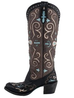 677f341bcbc Lane Clover Girl Black and Brown Turq Western Cowgirl Boots     Find out  more