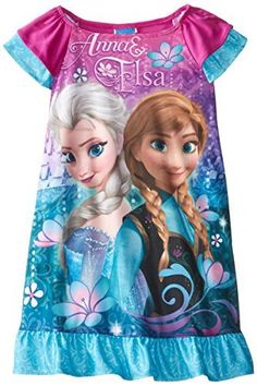 Disney Little Girls Frozen Anna and Elsa Nightgown Multi 6 >>> You can find more details by visiting the image link.