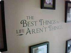Picture frames around the quote...  http://thriftydecorchick.blogspot.com/search/label/Stairs
