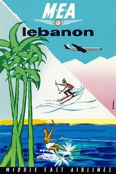 Fly to Lebanon.  Vintage travel poster  http://vintagevenus.com.au/products/vintage_poster_print-tv948
