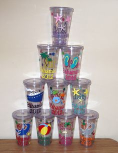 Beach Personalized Tumblers 16 Ounce Acrylic With By Theposhdiva 9 00