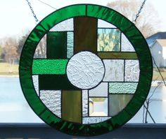 Stained glass window panel green clear round circle by SGHovel, $69.00