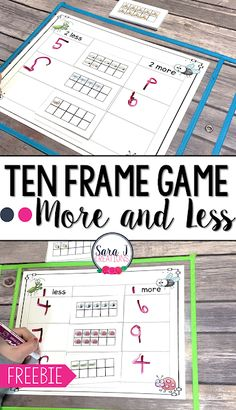 Free ten frame game that practices subitizing and figuring out more and less. Ideal for kindergarten classrooms and math centers.