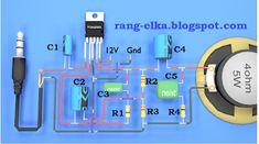 Merakit rangkaian elektronika: TDA2003 Basic Electronic Circuits, Electronic Circuit Projects, Electronic Schematics, Electronics Basics, Electronics Projects, First Transistor, Diy Amplifier, Arduino Board, Circuit Diagram