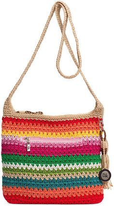 The Sak Orange Fuchsia Beach Stripe Casual Classics Crossbody Bag