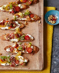 """""""I can't tell you how many times I've made this! The crisp toasts with lemony sharp feta and sweet ripe tomatoes are an unbeatable combination. I prep all parts in advance and then just assemble them before dinner for a wonderful first course."""" —Ina Garten ... Double-click for the Tomato Crostini with Whipped Feta Recipe"""