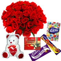 Bunch 35 Red Roses With 6 Inch Teddy & Assorted Chocolates Worth Rs. 50/- @ Rs. 975
