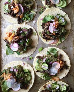 Slow cooker Korean Skirt Steak Tacos w Salsa Verde to heal the pain from last nights debate. Recipe link in profile. #thejudylab #tacotuesday @tacos