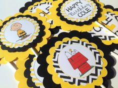3 Centerpieces Charlie Brown & Peanut Gang by EmeraldCityPaperie
