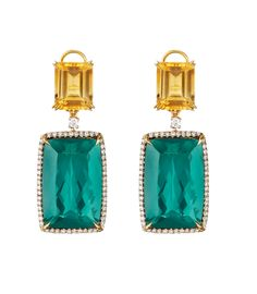 Faraone Mennella: 18Kt faceted green tourmaline drop with yellow beryl and diamonds