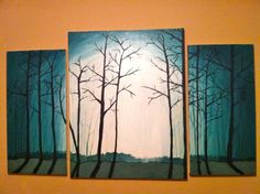 Tree painting. I could do this! I love the colors and shadows but I would add something creepy