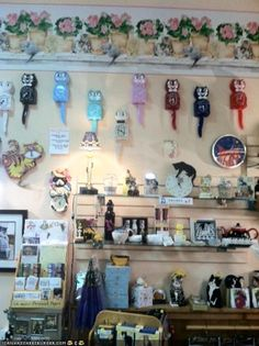 This is actually a photo from inside the store. They sell a variety of cat products, some more on the practical side and some more. well, on the decorative side. Boutique Stores, A Boutique, Cat Products, Pet Store, Photo Wall, Pets, Frame, Decor, Animals And Pets