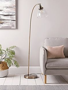 Carefully handblown glass, our contemporary domed shape floor lamp features a beautiful antiqued brass neck and matching round fixing. Complete with authentic industrial features, our curved floor lamp features authentic knurled lamp holder details w Curved Floor Lamp, Diy Floor Lamp, Tall Floor Lamps, Glass Floor Lamp, Floor Standing Lamps, Metal Floor, Modern Floor Lamps, Tall Standing Lamp, Silver Floor Lamp