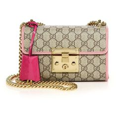 Gucci Padlock GG Supreme Small Shoulder Bag (5.550 BRL) ❤ liked on Polyvore featuring bags, handbags, shoulder bags, apparel & accessories, chain strap purse, shoulder handbags, top handle handbags, brown shoulder bag and gucci handbags