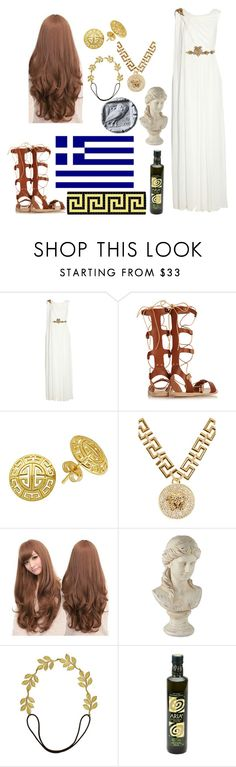 """""""Nyotalia Greece"""" by my-chemical-phallout ❤ liked on Polyvore featuring Notte by Marchesa, Ancient Greek Sandals, Lord & Taylor, Versace, Sankins, Eddera, women's clothing, women, female and woman"""