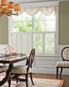 2 louver wood cafe shutters in eggshell 13577 - Louvered Dining Room Decor
