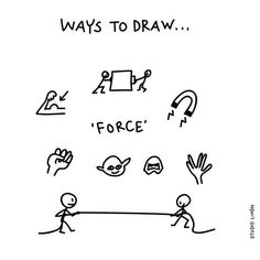 Force - Ways to Draw Doodle Sketch, Doodle Drawings, Easy Drawings, Visual Note Taking, Note Doodles, Visual Metaphor, Visual Dictionary, Visual Learning, Cartoon Sketches