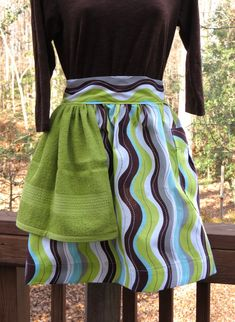 Women's Green, Brown and Aqua Wavy Stripe Half Apron with Built-In Hand Towel. $17.00, via Etsy.