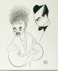 "Al Hirschfeld ~ Lucille Ball and Desi Arnaz in ""I Love Lucy"""