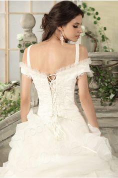 Princess Off The Shoulder Chapel Train Lace Wedding Dress CWJT13008 #lace #cocomelody
