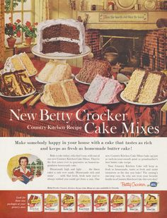 1960 Betty Crocker Cake Mixes Ad Country Kitchen by AdVintageCom Funny Vintage Ads, Vintage Advertisements, Retro Ads, Vintage Baking, Vintage Food, Retro Food, Vintage Stuff, Retro Recipes, Vintage Recipes