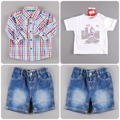 Pantalón vaquero corto 2,95€   Camisa de cuadros 3,19€   Camisa manga corta 4,85€ http://www.quiquilo.es/37-9-meses