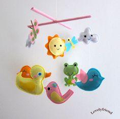 Baby Crib Mobile Baby Mobile Felt Mobile by lovelyfriend