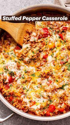 Quick Recipes, Crockpot Recipes, Cooking Recipes, Healthy Recipes, Entree Recipes, Mexican Food Recipes, Dinner Recipes, Stuffed Pepper Casserole, Stuffed Peppers