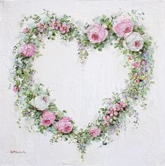 Original Painting on Canvas - Roses & Flowers Heart Wreath - Postage is included Australia Wide Decoupage Vintage, Decoupage Paper, Art Floral, Flower Frame, Flower Art, Vintage Tattoo Sleeve, Back Painting, Heart Wreath, Heart Art