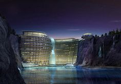"""Ground has broken on a groundscraper-hotel in an abandoned quarry Shanghai that will feature a """"waterfall"""" constructed of glass and two underwater levels."""