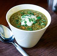 Curried Lentil Soup, add a can of coconut milk after pureeing half of the batch