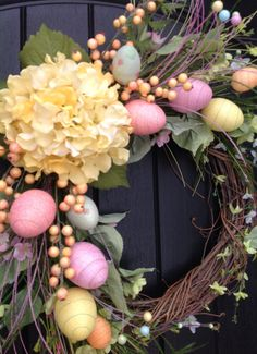 Spring Wreath Easter Egg Wreath Summer by AnExtraordinaryGift