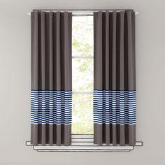 "96"" New School Curtain (Blue Stripe)"